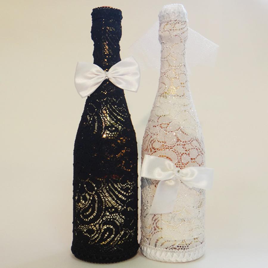 Как украсить бутылку вина к свадьбе своими руками фото